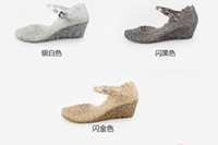 Wholesale new classic high heeled slope with shiny sequins crystal plastic female hole sandals jelly shoes hol