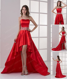 Wholesale 2013 Sexy Prom Dresses A Line Strapless Red Satin High Low Beaded Waistline Party Dresses DH0037