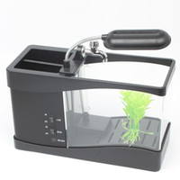 aquarium tank - 6 LED light LCD Clock Display USB Desktop Aquarium Mini Fish Tank with Running Water MINI aquarium H379