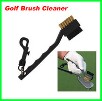 Wholesale Low Price Dual Bristles Golf Club Brush Cleaner Ball Way Cleaning Clip Plastic Groove