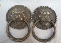 Wholesale China Bronze FuGui JiXiang Lion Head Statue Mask BiXie Trigram Door Knocker Pair