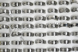 2-Layer Turnable 36pcs Mixed Cut Stainless steel Silver Tone Rings New FREE Jewelry ring R211
