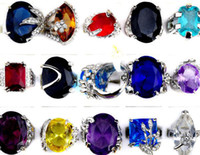 Wholesale Brand New Jewelry Multicolor Zircon Crystal Silver P rings CZ08