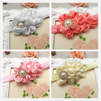 Wholesale Hot sale quot satin Ruffled flowers with Pearl Button on cm width FOE Elastic headbands