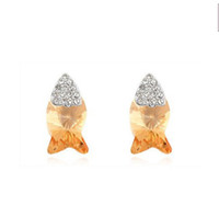 Stud   Fish earring stud 2013 latest pop alloy plated real gold crystal earrings jewelry Free shipping