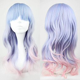 Wholesale Blue and Pink Mixed Color cm Sweet Lolita Wave Wig