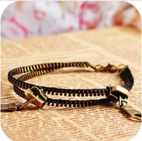 Wholesale New Hot Antique Brass Fashion Retro zipper Anklet unisex No