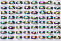 african american patterns - Stainless steel Rings Rainbow Colors Band Mixed Pattern Cute Galore ring Jewelry New R235