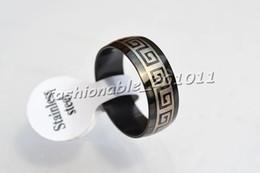 Stainless steel Rings Silver Black 8mm Band 50pcs Mixed Design Men Women ring Free P&P R236