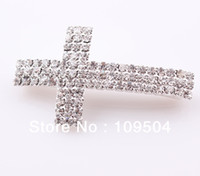 Wholesale NEW Rhinestone Claw Chain Sideways Cross Connector Pipe Crystal Cross Links Fit DIY Bracelet ZBE003