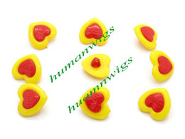 Wholesale 200pcs New Yellow Hearts Plastic Sewing Shank Buttons Scrapbooking x15mm Sknopf LZD0038
