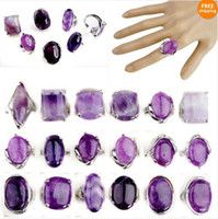 Wholesale Jewelry Mixed Amethyst Gemstone Women s Silver Plated Jewelry Rings ST45