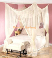 Full Quadrate Home FREE SHIP~ 4 POST BED MOSQUITO NET FOUR CORNER POINT CANAPY BUG CANOPY QUEEN KING SIZE CURTAIN 62030