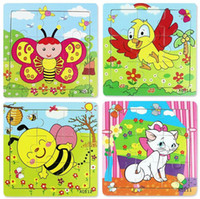 Wholesale Cartoon Animal Wood Jigsaw Develop Intelligence Educational Toys Children Gifts Games Puzzles