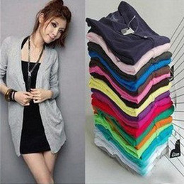 Wholesale Hot Sale New Fashion Women s Cardigan Sweater Long sleeve Casual Slim Cotton Solid Knitwear Colors