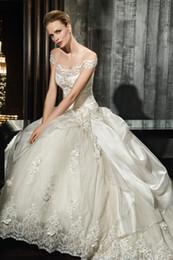 2016 Colección Esencia más vendido A-Line vestidos de novia de tafetán de encaje hecho a mano flores vestido de novia 7507 vestido de novia Capilla de tren