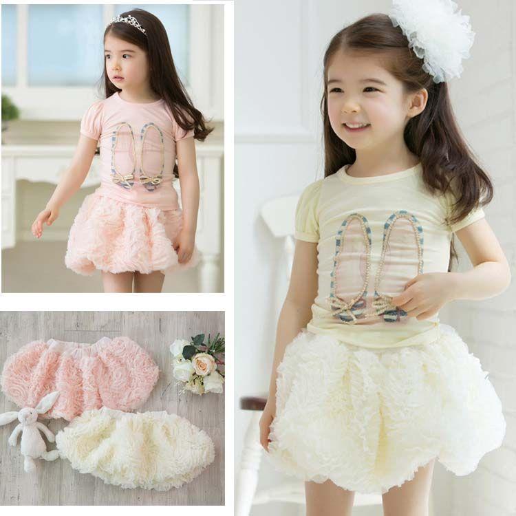 Lantern Skirts Children Wear Mini Skirt Girls Cute Rose Flower ...