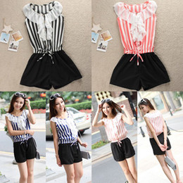 Wholesale Korean New Fashion Hot Stripe Falbala Sleeveless Pants Shirt Jumpsuit