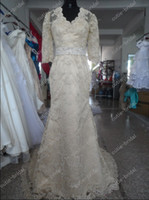 Real Photos V-Neck Lace hollow back car bone lace champagne wedding dress sheath bridal gown