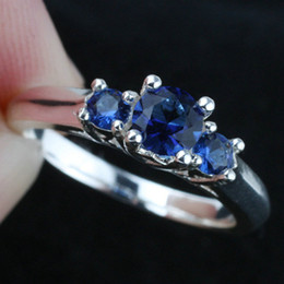 Women Three-stone Blue Sapphire Wedding 925 Sterling Silver Ring R134BS WED Engagement Gift