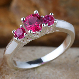 Lady 3-stone Round Red Ruby Anniversary Finger 925 Sterling Silver Ring R134RB WED Size 8
