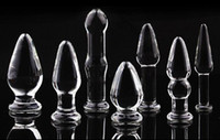 Female   Crystal dildo glass anal plug big small thick slim 7 designs delicate transparent different sizes