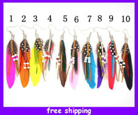Wholesale 2015 New Womens Feather Pierced Earrings Feather Dangle Bead Earrings