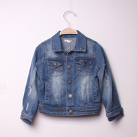 Wholesale Baby boys girls denim jackets kids fashion hole jacket years children teenagers outcoat