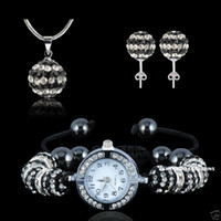 Wholesale HIigh Quality Shamballa Crystal Watch Necklace amp Earring Set Black Stripe Disco Ball Beads JEWELLRY
