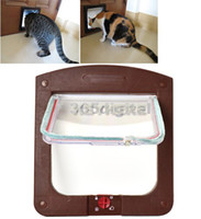 Wholesale 2 Colors Locking Pet Cat Kitty Small Dog Doggy Flap Safe Door Tunnel