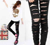 Wholesale new coming women Black Punk Women Cut out Ripped Skinny Jeans Trousers Size SML