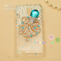 Wholesale customised blue crystal octopus fish Bling D Cell Phone Case for Samsung Galaxy S2 S II D710