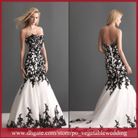 Wholesale Sweetheart Black Lace Applique Zipper Organza Black White Mermaid Wedding Dresses