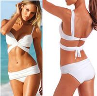 Las nuevas mujeres atractivas de 2color empujan hacia arriba el negro / blanco rellenado del Beachwear del bikiní de Trikini del traje de baño del traje de baño