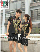 Wholesale Mens Tee Shirt Sweetie quot gress Exotic Chinese Dragon Style Table Tennis suit couple clothes matching