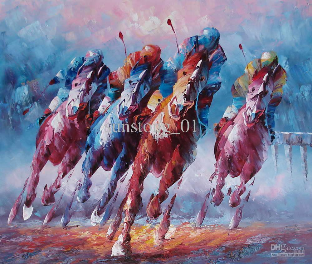2017 Horse Oil Painting Horse Running Competetion Handmade ...