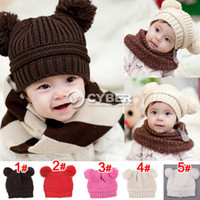 Wholesale New Fashion Korean Baby Love Dual Ball Girls Boys Wool knit sweater Cap Hat