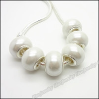 plastic beads - White Round charms resin Big Hole beads Pandora jewelry Fit DIY European bracelet