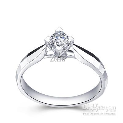 2017 Certified 18k White Solid Gold Real Natural Diamond Wedding