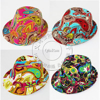 Wholesale Baby Fedora Hat Kids Printing flower cotton jazz cap Children Cowboy hat Baby Top Hat 1