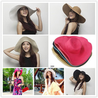 Wholesale 13 Colors Stylish Women Lady Solid Wide Large Brim Summer Beach Sun Hat Straw Cap MZXT2
