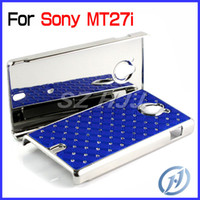 Wholesale Hard Back Cover for Sony Xperia Sola MT27i Bling Diamond Plating Crystal Mobile Phone Case