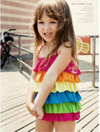 Wholesale Rainbow Striped Girl s Beachwear One Pieces Children Swimwear Bikini Year s Old Size M XL