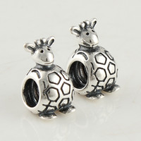 Wholesale fashion bead charm kangaroo animal large hole chiliam silver loose beads for DIY jewelry accessories link LW062