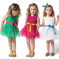 Wholesale New Girl Dress Hot Pink Vest Skirt Princess Party Dress Cake Skirt Cotton Lining And Green Red White