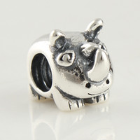 Wholesale Rhinoceros beads fashion jewelry sterling silver beads fit european Fashion Paris jewelry accessories LW066