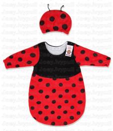 Wholesale Baby Sleeping bag sleep bags Infant long sleeve fleece romper sleepsacks heart dot black red A