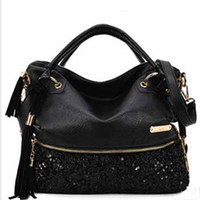 Wholesale newest Fashion women black handbag tote pu clutch lady sexy cool lux punk leopard sequin bag