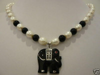 Pendant Necklaces   charm white pearl &black jade elephant pendant necklace