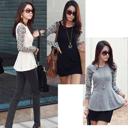 Wholesale New Fashion Women Slim Splicing Lace Long Sleeve Crew Neck Tee Tops blouse for Women G0141